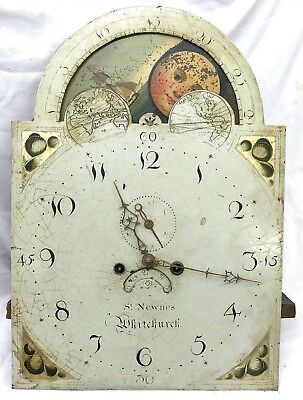 Antique Long Case Grandfather Clock Dial And Movement Rolling Moon Steven Newnes