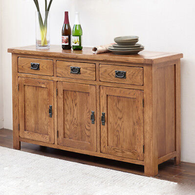 Original Rustic Solid Oak Wooden Large Sideboard With 3 Door 3 Drawer Storage