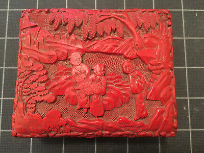 LATE QING - Chinese Carved Cinnabar Red Lacquer Storage Trinket Box