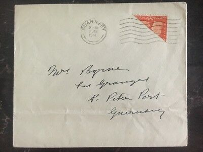 1940 Guernsey Channel Island England Occupation Cover BiSect Stamp Domestic