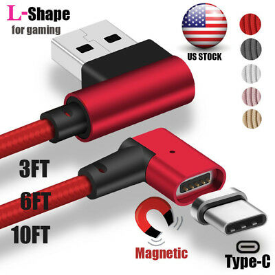 US 1~3M Magnetic Elbow 90° Strong Type-C Adapter Charger Charging USB Cable Lot