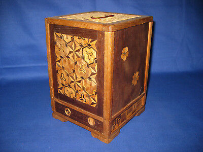 Lovely Antique  Japanese Wood Box Marquetry Inlay Cigarette And Pipe Display