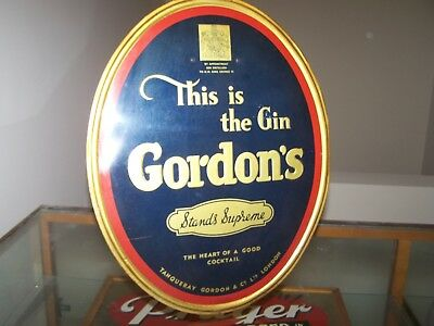 Vintage GORDON'S GIN Easel Tin Ad Liqour Sign Beer KING GEORGE IV LONDON ENGLAND
