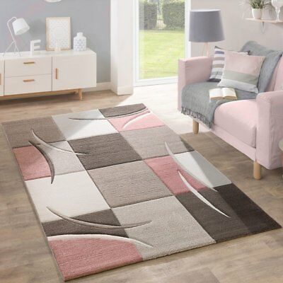 Small Extra Large Rug Modern Contemporary Checked Pattern Pink Grey Beige Carpet