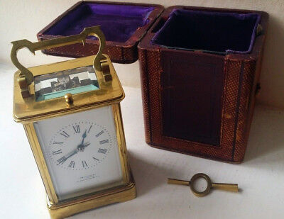 Beautiful Rare J Macmichael Striking Repeating Carriage Clock with Case and Key