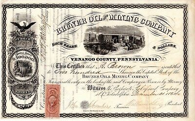 Bruner Oil and Mining Company of Verango County, PA 1864 Stock Certificate