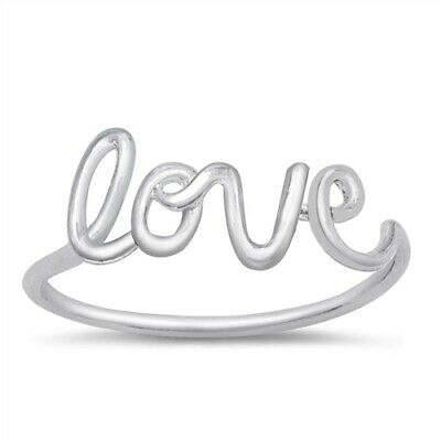 Women's LOVE Word Girl's Promise Ring .925 Sterling Silver Band Sizes 4-10 NEW
