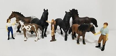 Schleich Safari Lot of 9 figures 6 Horses 3 Trainer