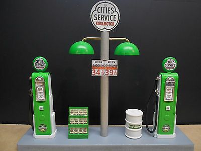 """ Cities""  Gas Pump Island Display W/gas Price Sign, 1:18Th, Hand Crafted, New"