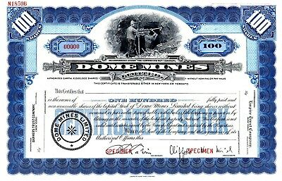 The Dome Mines Limited of Canada - SPECIMEN  Stock Certificate
