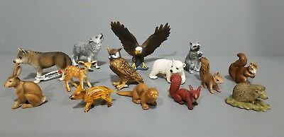 Schleich lot of 14 North American Animal figures Wolf Eagle Squirrel Raccoon etc