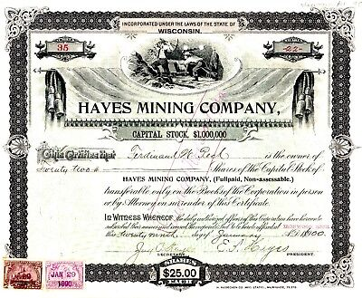 Hayes Mining Company of Wisconsin (office in Michigan) 1900 Stock Certificate