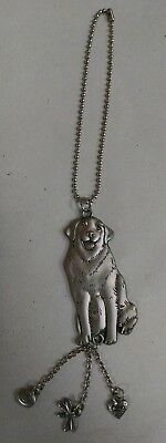 "Labrador Retriever Dog Charm ""2 Sided"" ""car Charm"" Lab Dog & Chain"