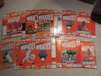 Vintage Wheaties cereal boxes, lot of 10 Michael Jordan, Bird, Green Bay, Twins+