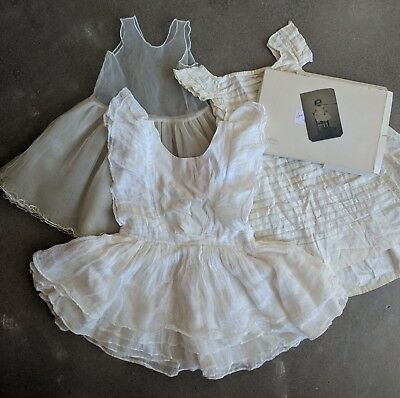 Antique Lot of Girl's Sheer Vintage Dresses Ivory White Pinafore Petticoat Photo