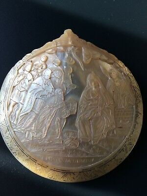 Antique Carved Mother Of Pearl Shell Religious Scene