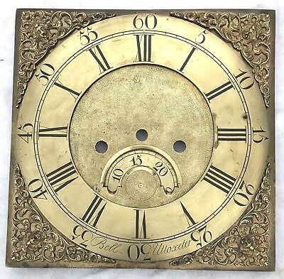 Lovely Antique Long Case Grandfather Clock Brass Dial Bell Uttoxeter