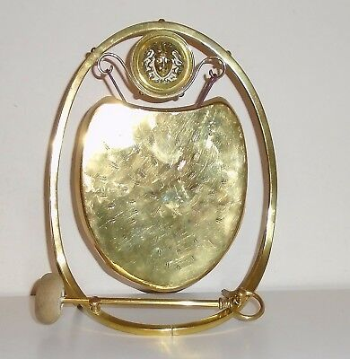 Beautiful Antique Art Nouveau Shield Brass Dinner Gong Girl With Flowing Hair