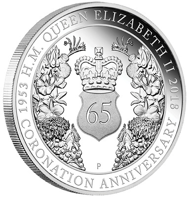2018 1oz Silver Proof Coin 65th Anniv. of the Coronation of Her Majesty QEII
