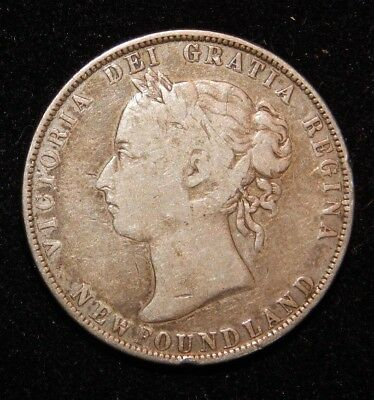 1900 Sterling Silver 50 Cents Canada Newfoundland Coin Queen Victoria