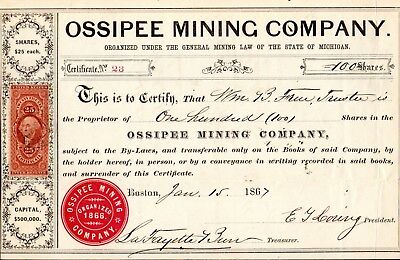 The Ossipee Mining Company of Michigan 1867 Stock Certificate