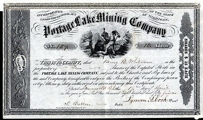 The Portage Lake Mining Company of Michigan 1855 Stock Certificate - office R.I.