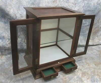 Vintage Store Display Case Showcase Cabinet Countertop Cigar Tobacco Humidor