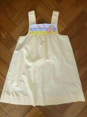 Mothercare Vintage 1970's/80's girl dress Age 5-6 years (110cm) yellow seaside