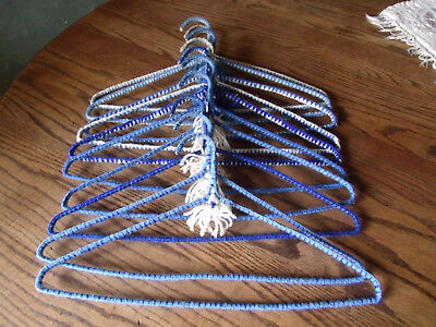 Vintage Crochet, Yarn Wrapped Metal Hangers- Blue and White- Set of 10