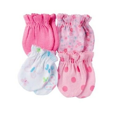 Gerber Baby Girl 4-Pack Pink Flowers/Butterfly Mittens Size 0-3M