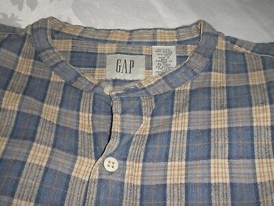 Vintage Gap Mens Blue/grey Check Winter Shirt - Size Xl - 80% Cotton