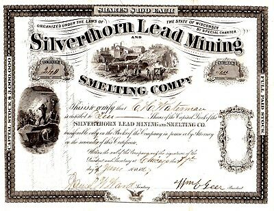 Silverthorn Lead Mining & Smelting Company of Wisconsin 1867 Stock Certificate
