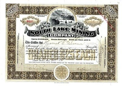 South Lake Mining Company of Michigan 1918 Stock Certificate - office in Boston