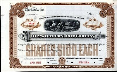The Southern Iron Company of Alabama - SPECIMEN Stock Certificate