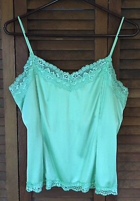 Worthington Women's Camisole Large Mint Green Lace Cami Top Tank Blouse Shirt L