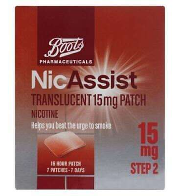 2 packets BOOTS NicASSIST 15mg Step 2 . Contains 7 Translucent Patches per box