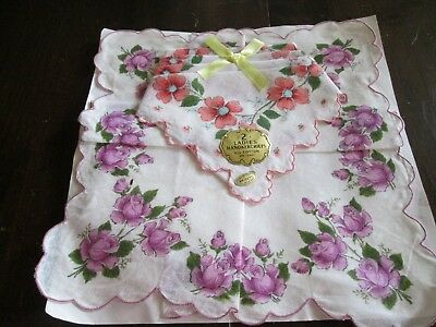 lot of 2 vintage unused ladies' handkerchiefs hankies