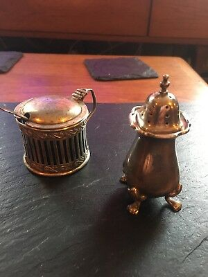 Beautiful antique solid silver mustard pot and pepper pot. Hallmarked silver