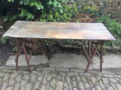 Vintage Pine Trestle Table, Kitchen, Desk, Work Table, Crafts, Christmas Party