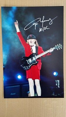 Angus Young AC/DC Original Hand Signed Band Autograph 8 x 12 Photo with COA