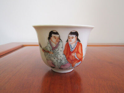 Unusual Chinese famille rose cup with the Hehe twins