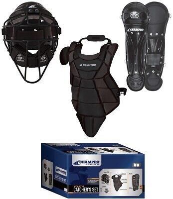 CHAMPRO Youth Catcher's Set w/ HEL-MAX Headgear, Chest Protector & Leg Guards