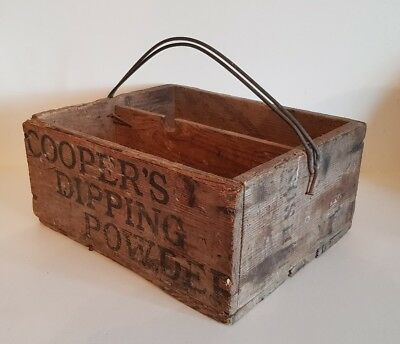 Rare vintage/antique Coopers Dipping Powder wood box crate/case poison sheep dip