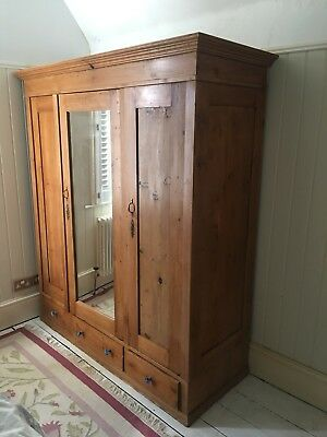 An Extra Large 3Drawer 3Door Triple Antique/Old Pine Knockdown Wardrobe
