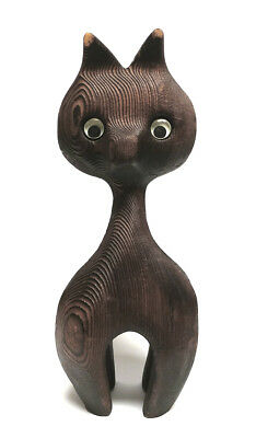Mid-Century Modern WITCO TIKI Style Carved Wood CAT Sculpture with Original Eyes