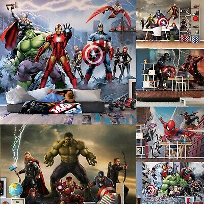 Various size & design wall mural wallpapers kids Marvel Avengers Hulk Iron Man