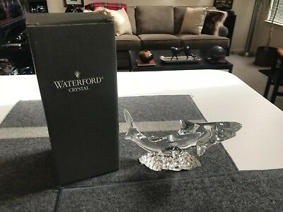 """SUPERB RARE 7 1/2"""" Waterford CUT CRYSTAL SHARK FIGURINE in MINT CONDITION in BOX"""
