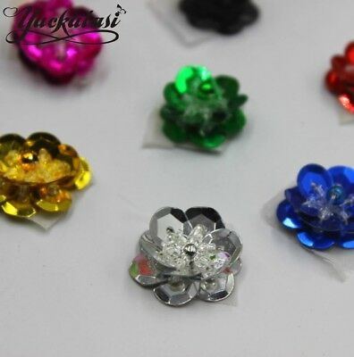 UK 24 COLOURS SEQUIN Flower 2cm Sew On Applique Costume Dance Knitting rose Trim