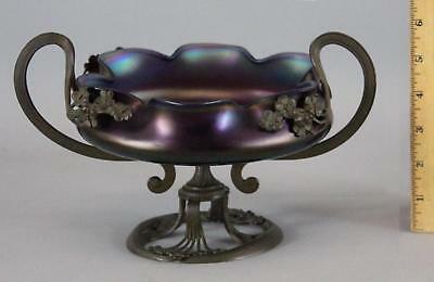 Antique Czechoslovakian Bronzed Art Nouveau Iridescent Rindskopf Art Glass Bowl
