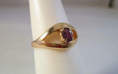Vintage 10K Solid Yellow Gold .25ct Amethyst Ring   1.8G  Sz 5.5   .99c AUCTION!